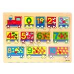 Drewniane puzzle - edukacyjny POCIĄG - cyfry 12 elementów