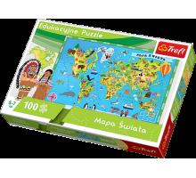 Puzzle TREFL Mapa Świata - Edukacyjne puzzle - 100 el.