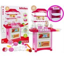 Kuchnia ze zmywarką i zegarem - różowa