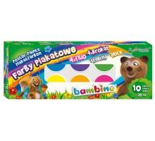 Farby plakatowe BAMBINO EXTRA - 10x20 ml - fluo, brokat, złota, srebrna
