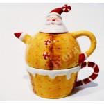 Dzbanek ceramiczny z filiżanką Święty Mikołaj