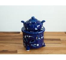 Kominek ceramiczny z dzbanuszkiem - niebieski
