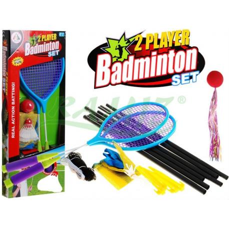Zestaw do badmintona siatka + 2 x paletki + piłka + 2 x lotki