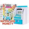 Skarbonka elektroniczna na polskie nominały - bankomat - kolor niebieski