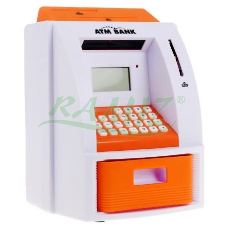Skarbonka elektroniczna na polskie nominały - bankomat - kolor pomarańczowy