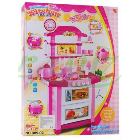 Kuchnia ze zmywarką - światło i dźwięk - różowa