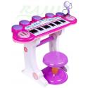 Keyboard różowy 3-oktawowy + werble + mikrofon + siedzisko