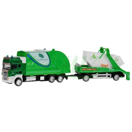 Śmieciarka z kontenerami - zielona