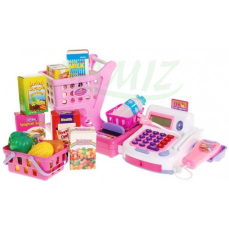 7f122296d5e791 Kasa + koszyk z zakupami - różowa