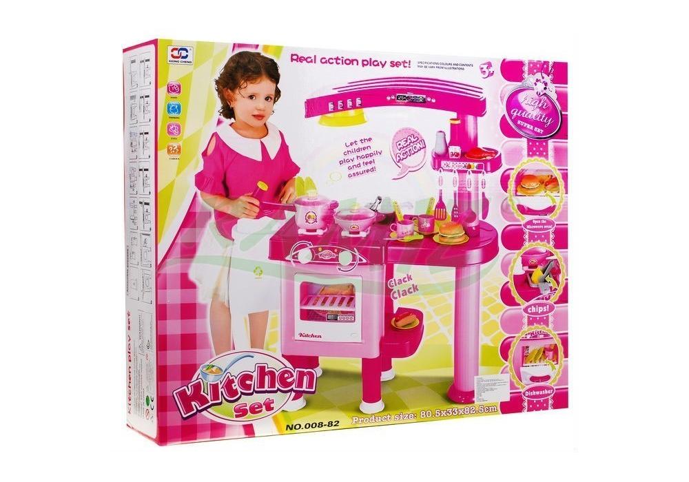 Kuchnia Dla Dzieci Z Okapem Akcesoria Różowa