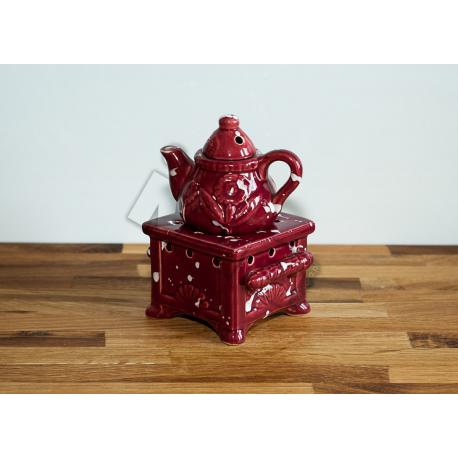 Kominek ceramiczny z dzbanuszkiem - bordo