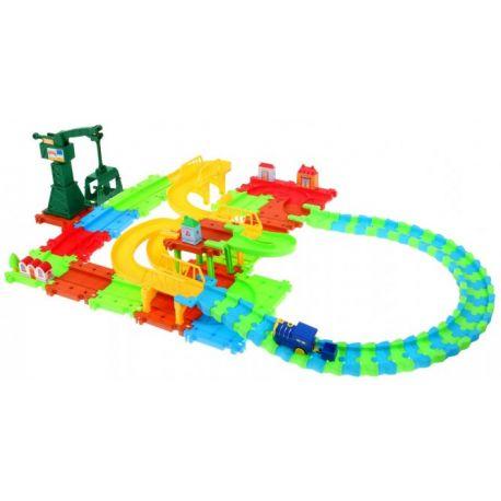 Stacja kolejowa + Kolejka z wagonikiem + ruchomy dźwig 2w1 93 Elementy