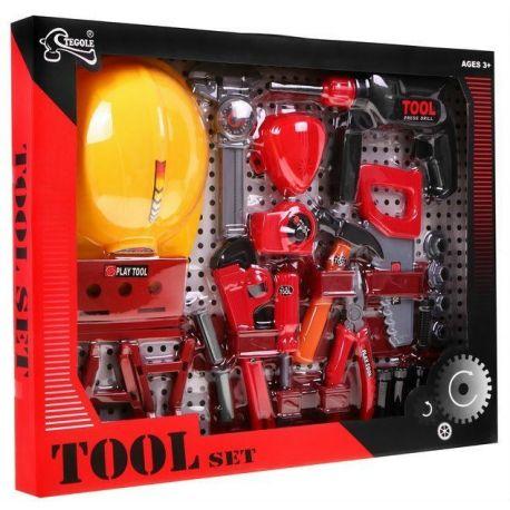 Zestaw narzędzi, pas na narzędzia, kask, wiertarka